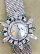 18ct GOLD OMEGA 2.00ct DIAMONDS & EMERALDS LADIES WATCH