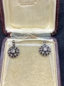 VINTAGE ROSE DIAMOND SET EARRINGS -
