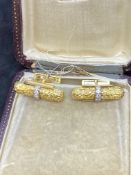 18ct GOLD DIAMOND SET CUFFLINKS - 20 GRAMS