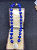 18ct GOLD LAPIS NECKLACE 76 GRAMS