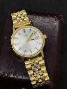 GENTS OMEGA WATCH - GOLD PLATED STRAP
