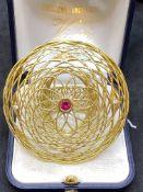 18ct GOLD RUBY & DIAMOND SET LARGE RING - 18 GRAMS