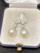 18ct GOLD PEARL & DIAMOND EARRINGS 0.50ct - 6.5 GRAMS