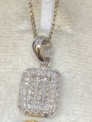 14ct WHITE GOLD 1.00ct DIAMOND SET PENDANT & CHAIN - 6.5 GRAMS