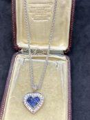 14ct WHITE GOLD 2.00ct BLUE SAPPHIRE & 1.50ct DIAMOND PENDANT & CHAIN 17 GRAMS