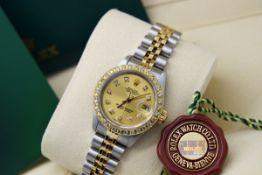 ROLEX DATEJUST (LADY) - 18K GOLD & STAINLESS STEEL, DIAMOND DIAL & BEZEL