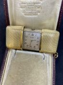 VINTAGE SWISS MOVADO 18ct GOLD CASED TRAVEL CLOCK