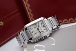 MENS CARTIER TANK CHRONOGRAPH - STAINLESS STEEL - BOX & PAPERS!