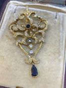 Stunning Antique Sapphire & 2.00ct Diamond Pendant Tested as 15ct Gold - 15 Grams