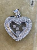 18ct While Gold Diamond set Heart Pendant