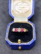 Old Cut Diamond & Ruby set - Rose Gold Coloured ring rested as 18ct Rose Gold