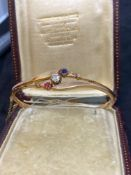 Rose Gold Hinged Bangle Set with Sapphire, Diamond and Ruby - 7.3 grams