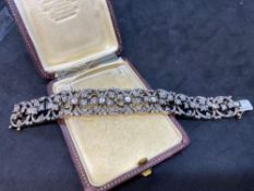 Stunning French 10.00ct Approx Diamond Bracelet - 18ct French Hallmark - 54 Grams