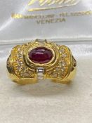 18ct Gold 1.00ct Cabochon Ruby & 1.00ct Diamond Ring - 8.3 Grams