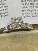 1.76ct F/SI Diamond Solitaire with 1.00ct E/F-VVS-VS Diamonds set in 14ct White Gold CGL Certificate