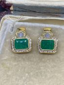 Fine 5.60ct Emerald & 1.80ct G-H/VS Diamond Earrings Set in 18ct Yellow Gold - 11 Grams