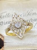 Vintage Diamond Ring set in yellow metal tested as gold