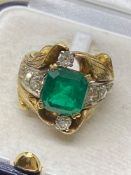 4.50ct Emerald & 1.30ct Diamond Ring - 16.2 Grams