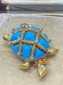 Fine Tortoise Brooch Set with 0.90ct Diamonds, Rubies, Turquoise - 19.5 Grams Approx 42mm x 25mm