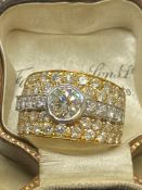 18k 3.17ct Diamond Ring Consisting of 1.35ct H/VS2 Diamond Solitaire and 1.82ct if Smaller