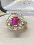 9ct Gold Approx 2.00ct Ruby & 0.60ct Diamond Ring - Approx 6.8 Grams
