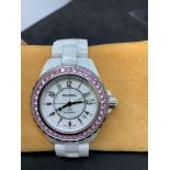Chanel J12 automatic ceramic watch 42 mm set with Pink Sapphires Small strap