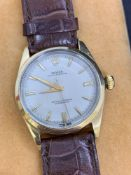 Rolex Watch Gold & Steel 36mm Automatic Leather Strap