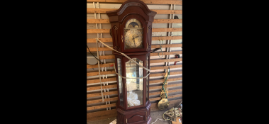 MODERN MAHOGANY MOONPHASE GRANDFATHER CLOCK - FROM AN ESTATE WE CLEARED