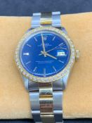 Rolex 34mm Steel & Gold Rolex Set with Diamond Bezel Some parts maybe aftermarket such as bezel