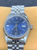 Vintage 1977 Rolex Datejust Watch - Blue Dial S/Steel with 18ct Gold Bezel