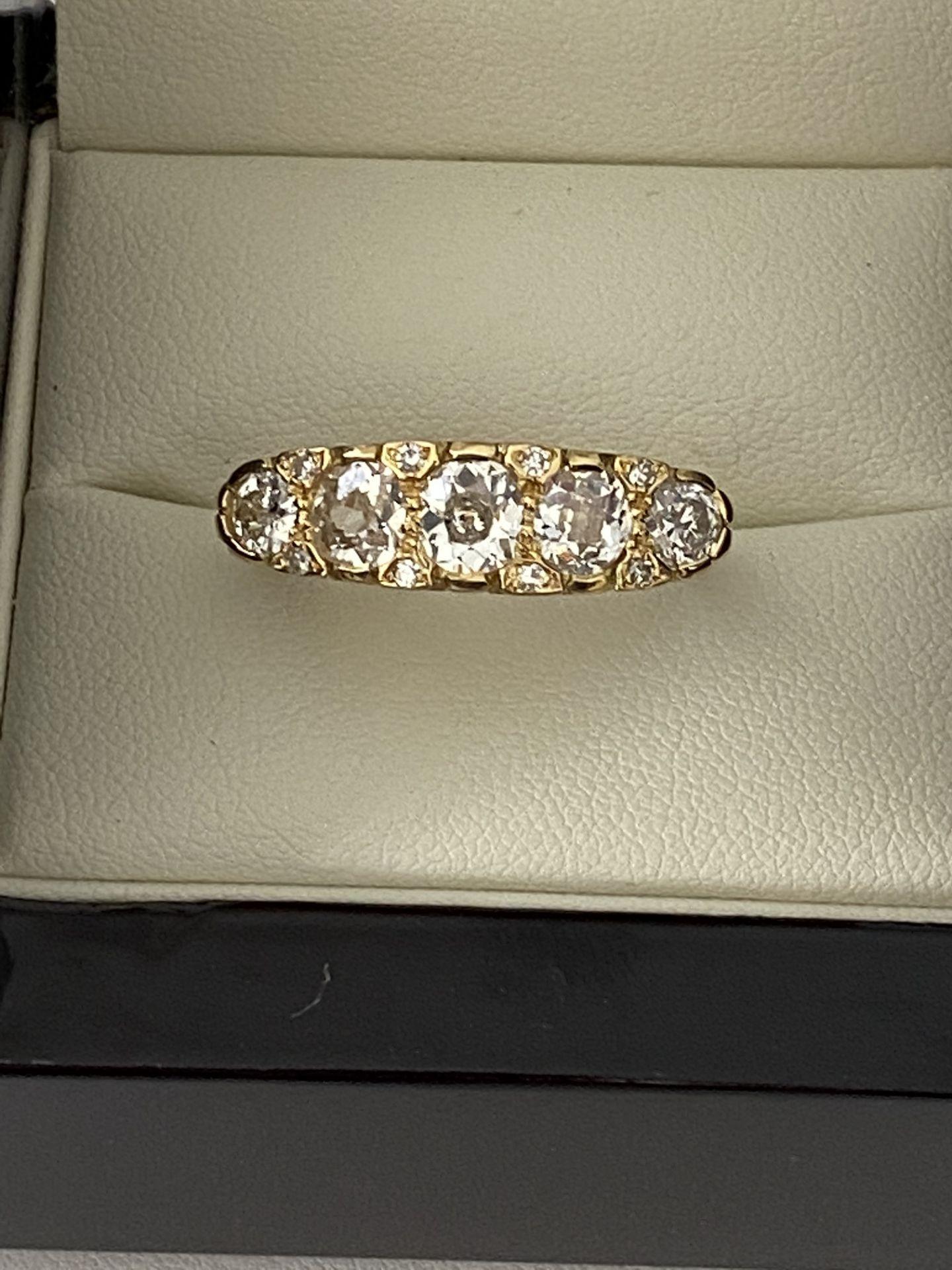 FINE 18ct YELLOW GOLD 2.00ct 5 STONE DIAMOND RING - Image 5 of 15