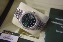 ROLEX STEEL DATEJUST 36' (GENTS) GREEN SUNBURST DIAMOND DIAL