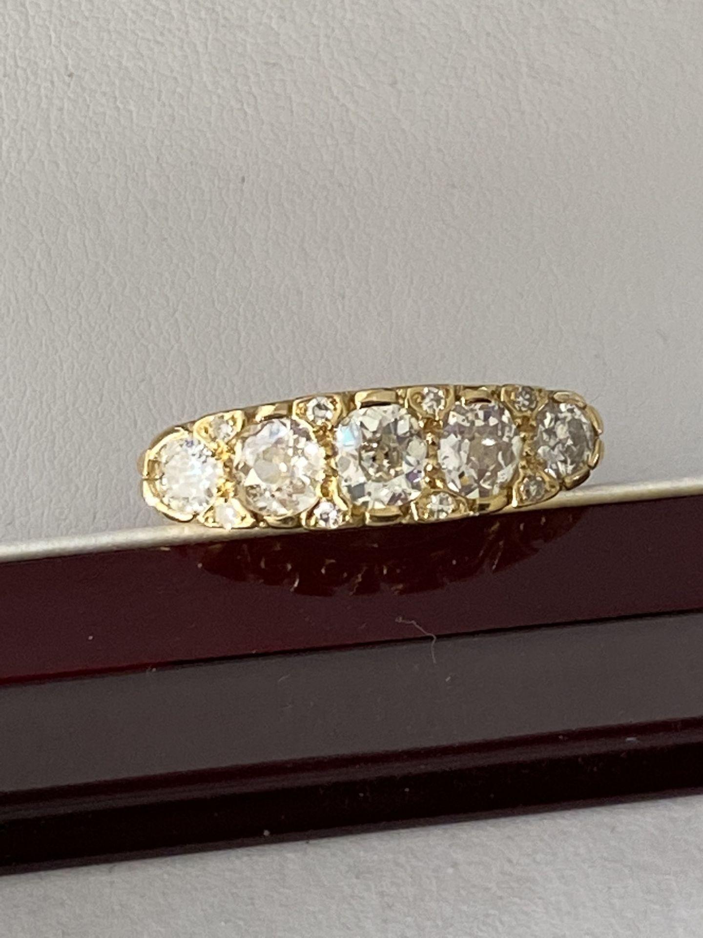 FINE 18ct YELLOW GOLD 2.00ct 5 STONE DIAMOND RING - Image 2 of 15