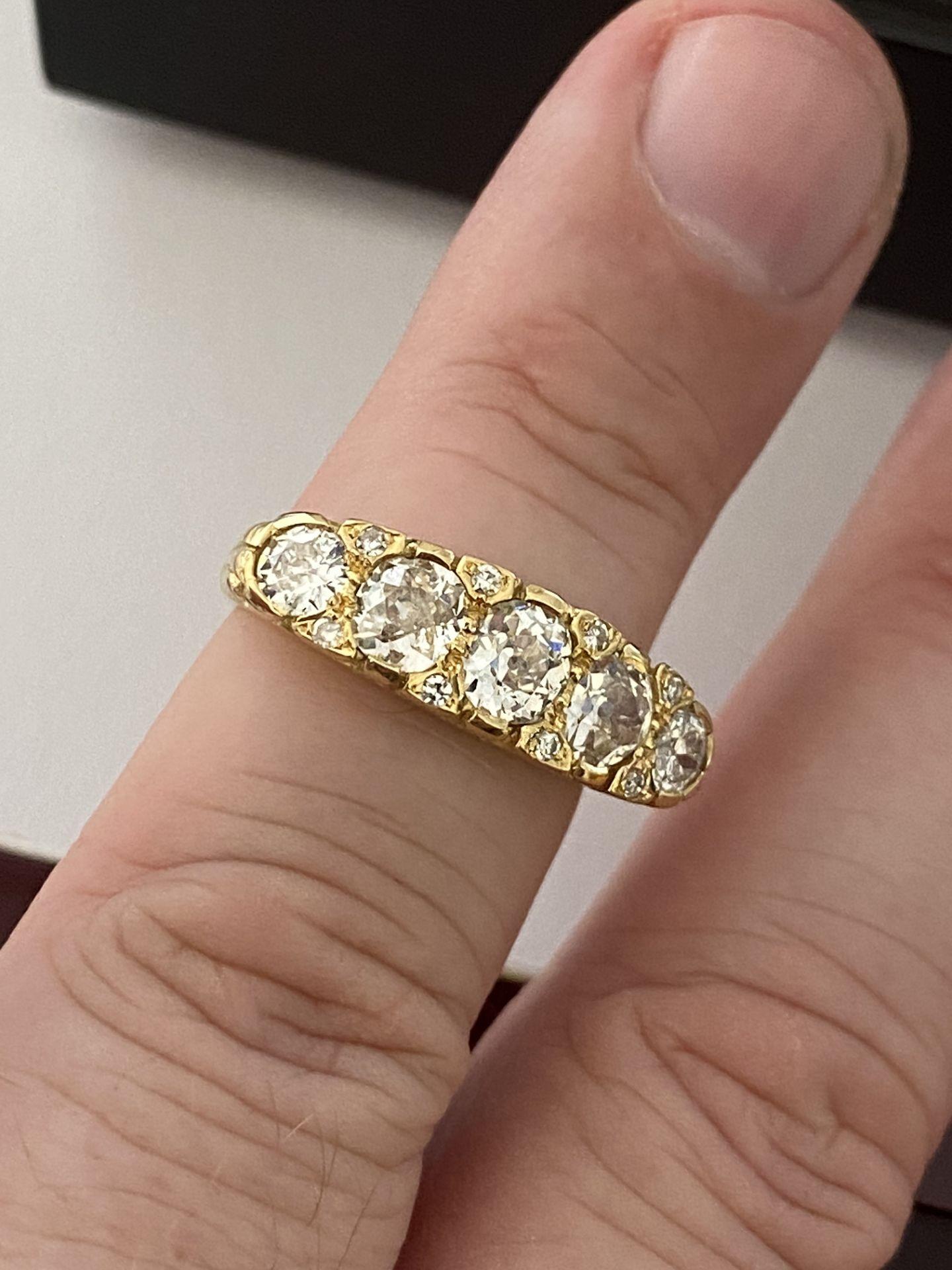 FINE 18ct YELLOW GOLD 2.00ct 5 STONE DIAMOND RING - Image 11 of 15
