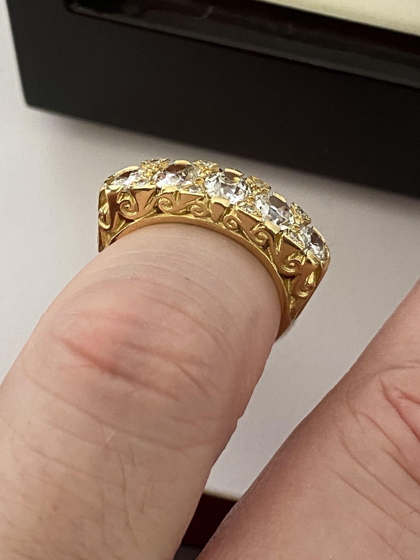 FINE 18ct YELLOW GOLD 2.00ct 5 STONE DIAMOND RING - Image 14 of 15