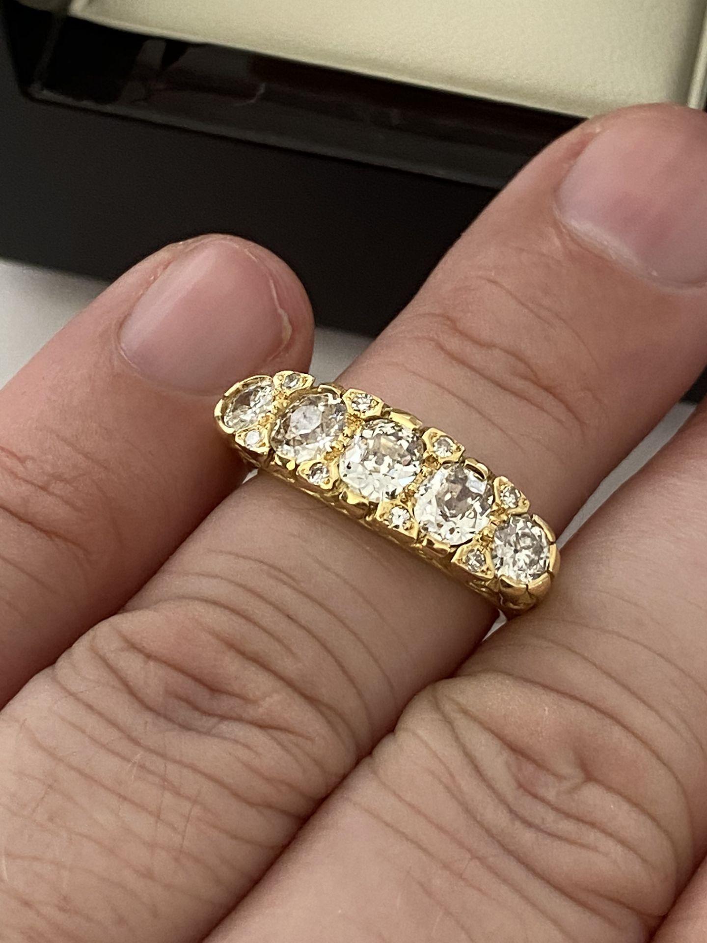 FINE 18ct YELLOW GOLD 2.00ct 5 STONE DIAMOND RING - Image 15 of 15