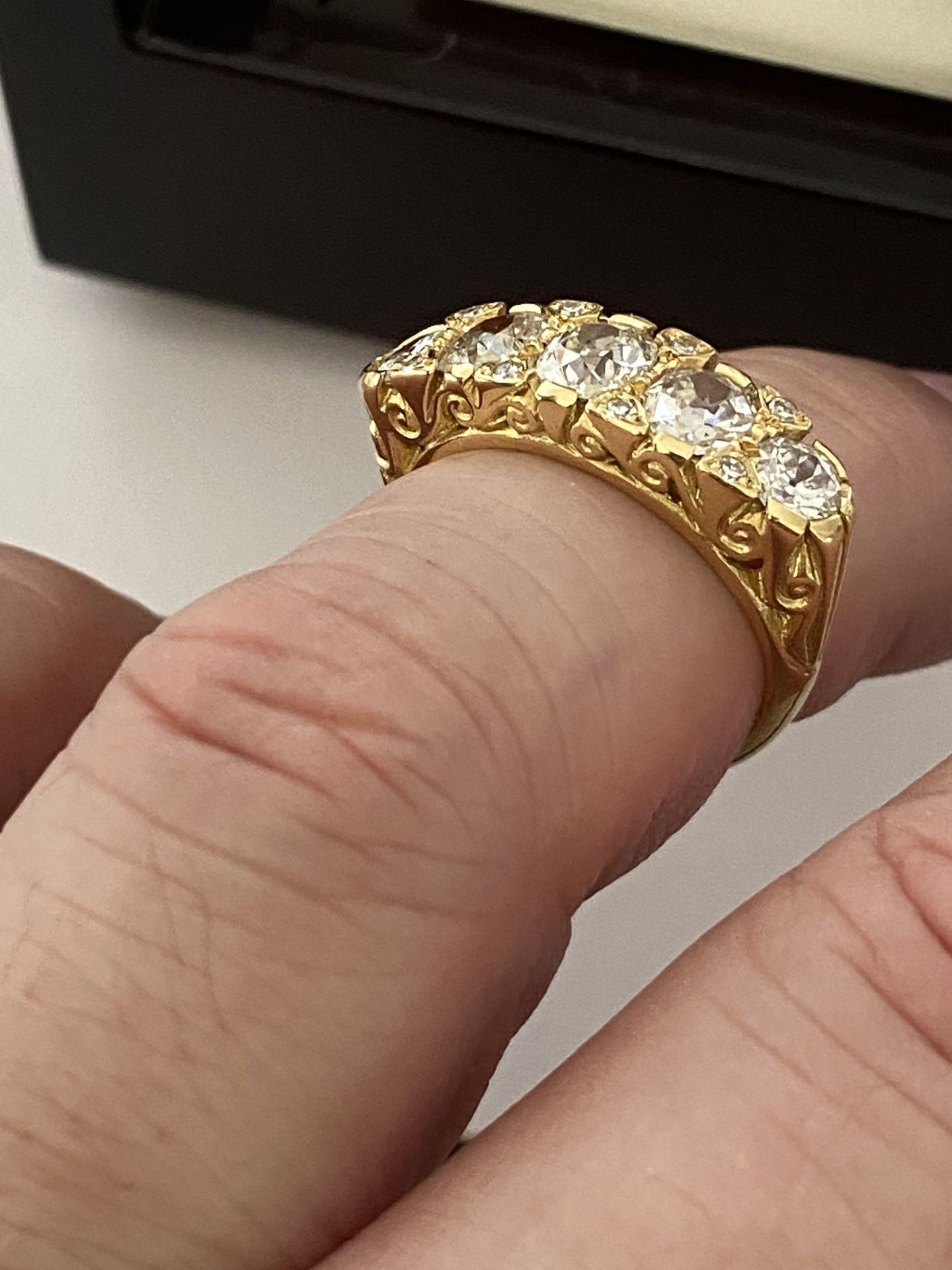 FINE 18ct YELLOW GOLD 2.00ct 5 STONE DIAMOND RING - Image 3 of 15