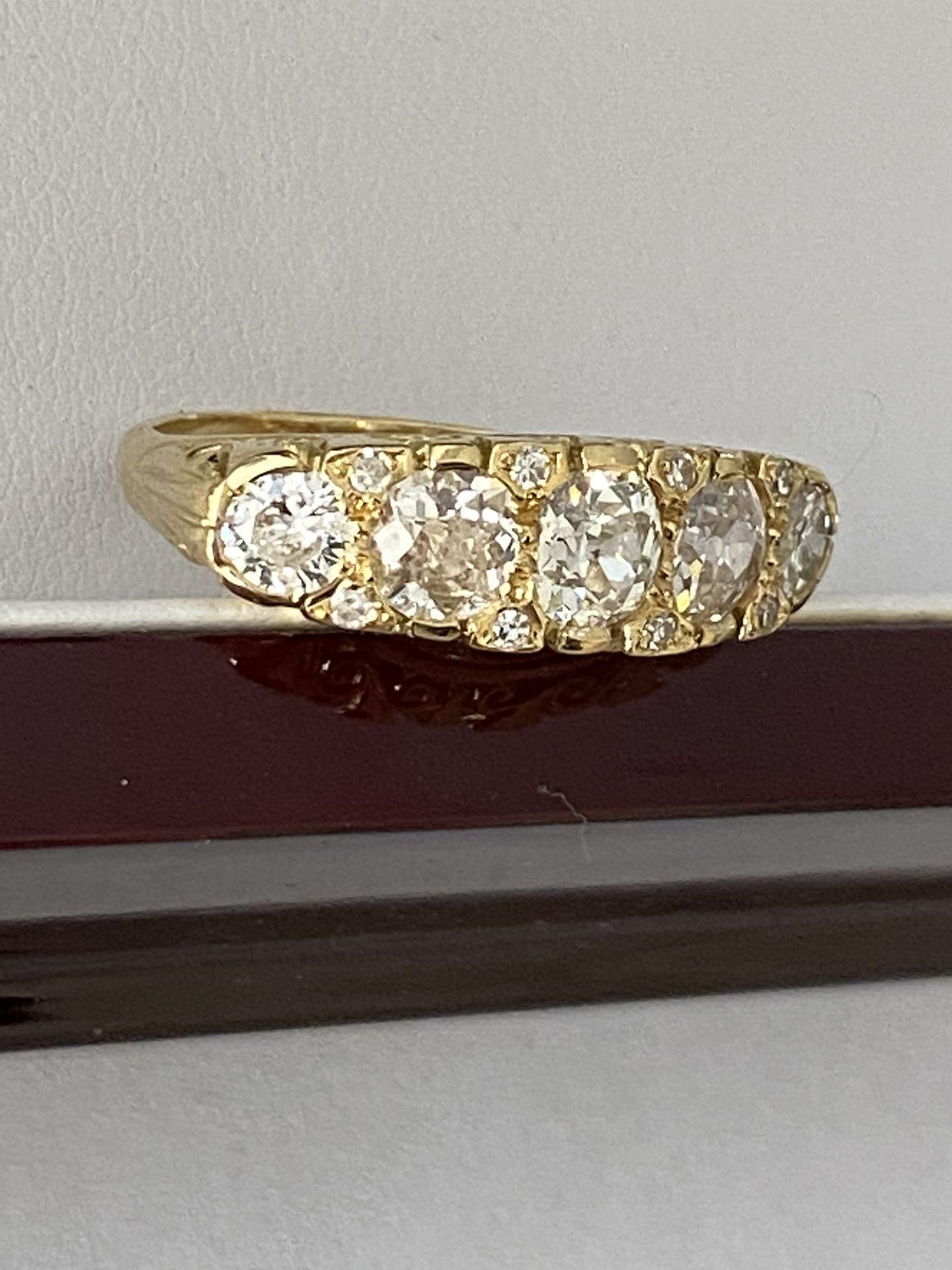 FINE 18ct YELLOW GOLD 2.00ct 5 STONE DIAMOND RING - Image 9 of 15