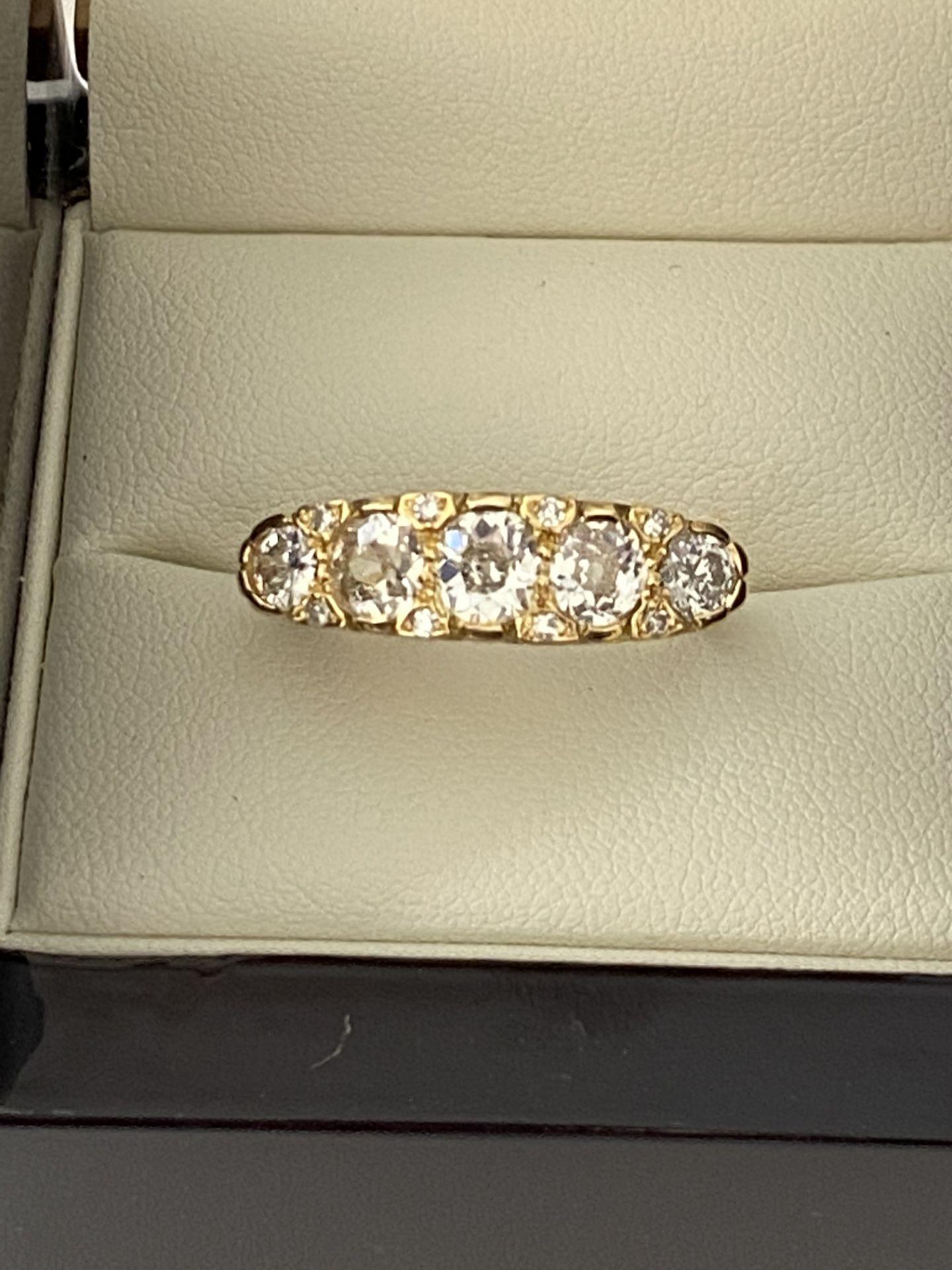 FINE 18ct YELLOW GOLD 2.00ct 5 STONE DIAMOND RING - Image 6 of 15
