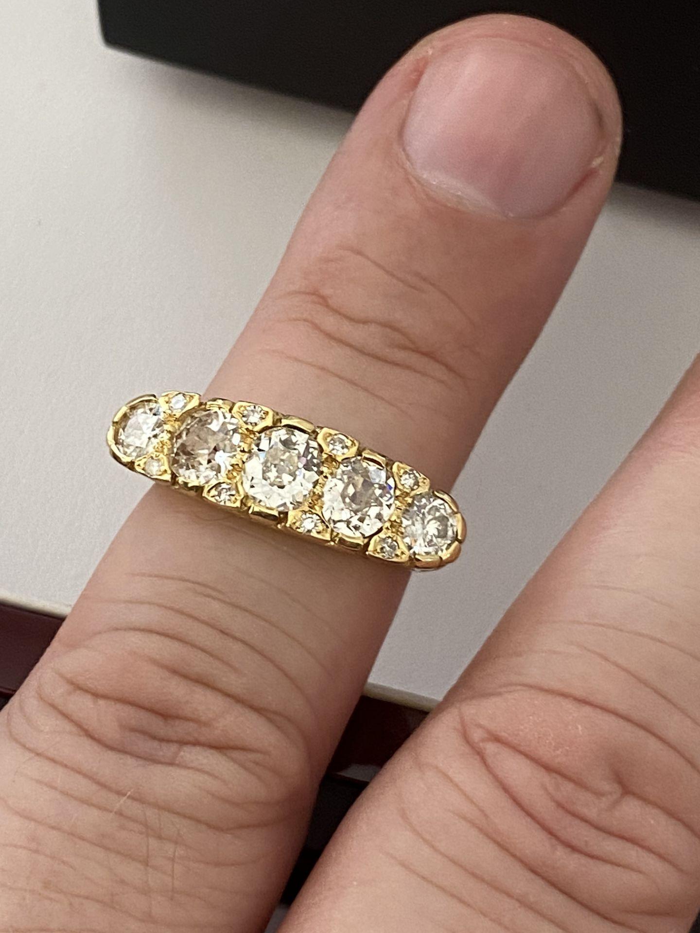 FINE 18ct YELLOW GOLD 2.00ct 5 STONE DIAMOND RING - Image 12 of 15
