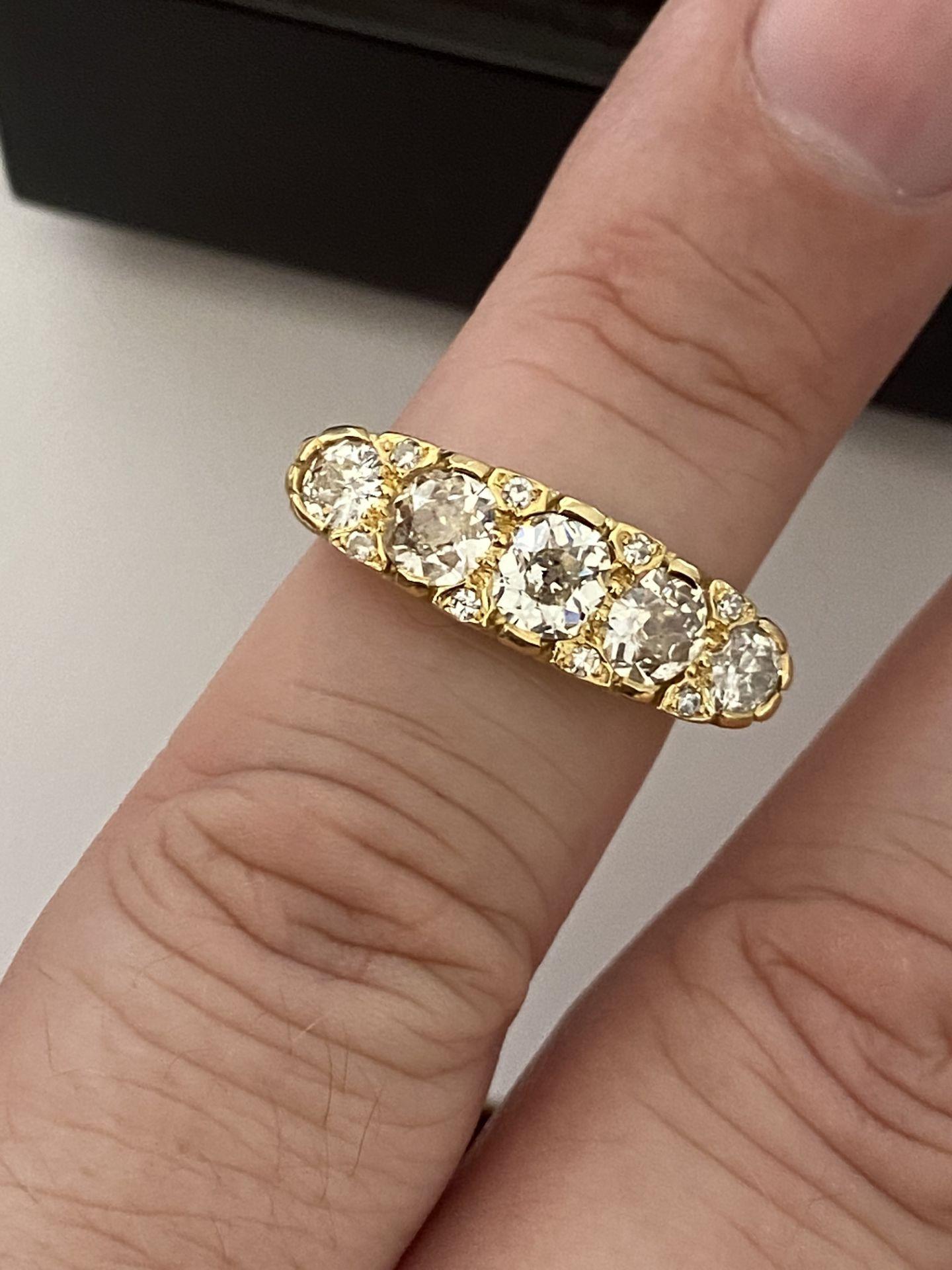 FINE 18ct YELLOW GOLD 2.00ct 5 STONE DIAMOND RING - Image 13 of 15