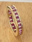 18ct YELLOW GOLD 1.00ct RUBY & 1.00ct DIAMOND FULL ETERNITY RING
