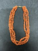 3 ROW CORAL NECKLACE 72g