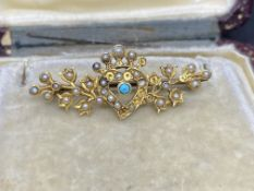 ANTIQUE TURQUISE & SEED PEARL 15k GOLD BROOCH