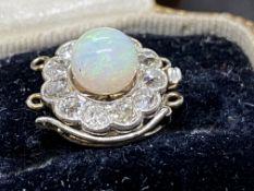 ANTIQUE OPAL & BRILLIANT CUT DIAMOND CLASP