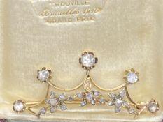 GOLD & SILVER ROSE DIAMOND SET CROWN BROOCH