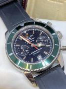 Breitling SuperOcean Heritage 44 Rare Green Bezel Chronograph Watch A23370 WITH BOX