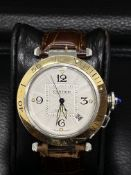 CARTIER PASHA 2379 CHRONOGRAPH STEEL & GOLD AUTOMATIC WATCH