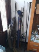 FISHING RODS WITH REELS & 2 X TENTS