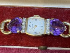 VINTAGE BOXED MOVADO GOLD DIAMOND & AMETHYST COCKTAIL WATCH
